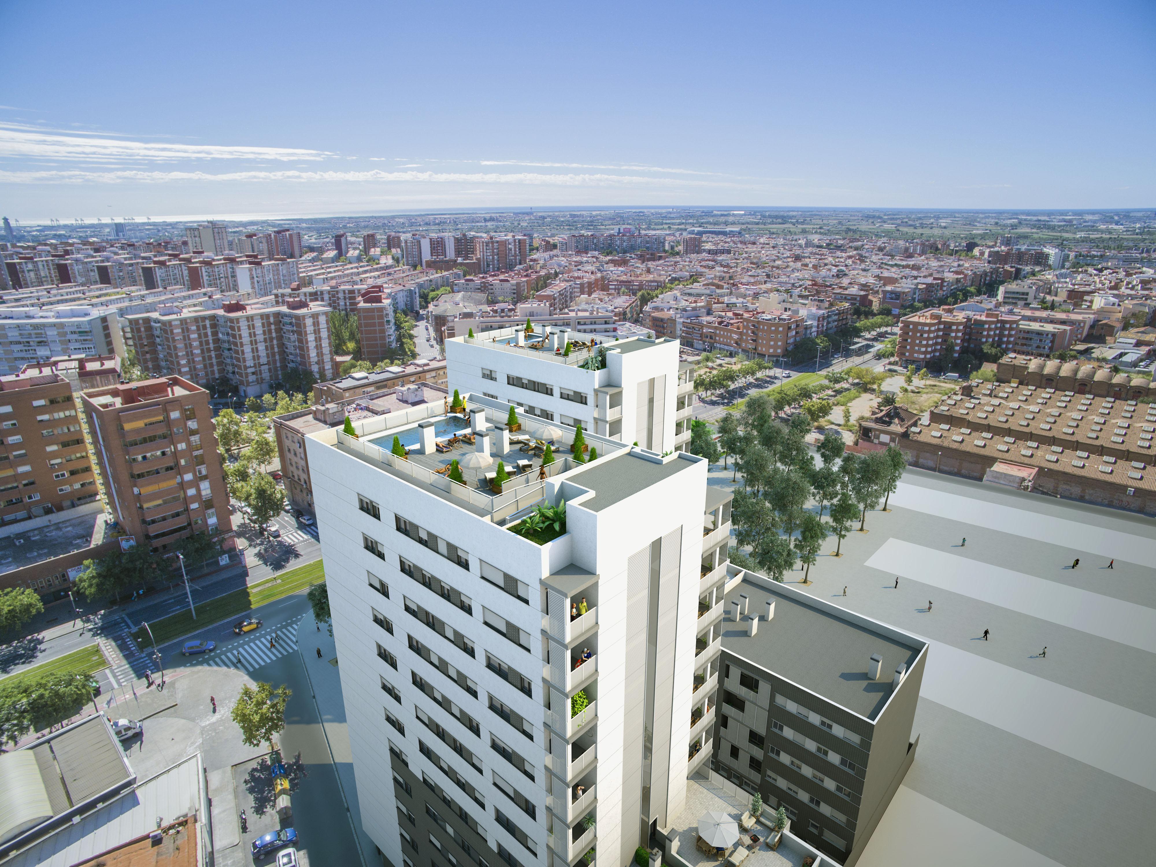 Complejo residencial de 131 viviendas edaie for Oficinas sanitas barcelona