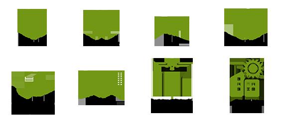 Electricitat, climatització, fluids, contra incendis, comunicacions i seguretat, il·luminació, automatització i control, energies renovables